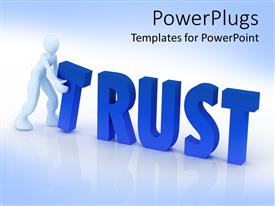 PowerPlugs: PowerPoint template with animated human figure holding a 3D 'trust' text