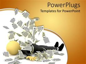 PowerPlugs: PowerPoint template with animated human figure laying in the midst of papers