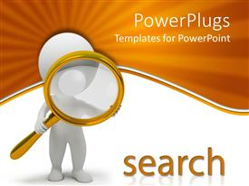 PowerPlugs: PowerPoint template with animated human figure looking through a magnifying glass