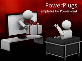 PowerPlugs: PowerPoint template with animated human figure receiving a gift from a television