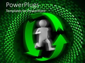 PowerPoint template displaying animated human figure running in a green recycle symbol