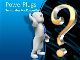 PowerPlugs: PowerPoint template with animated human figure standing in front of a question mark