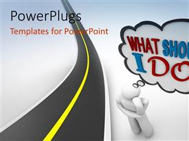 PowerPlugs: PowerPoint template with animated human figure with a thinking cloud on a white background