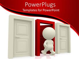 PowerPlugs: PowerPoint template with animated human figure walking through a white door in between two white doors