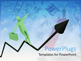 PowerPlugs: PowerPoint template with animated human figure walking on a zigzag arrow to the top