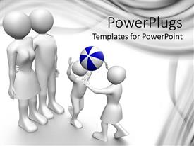 PowerPoint template displaying animated human figures of a family of four playing