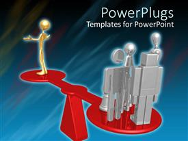 PowerPlugs: PowerPoint template with animated human figures standing on a red beam scale