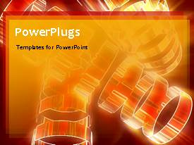 PowerPlugs: PowerPoint template with animated industrial depiction with glitering circles rotating on orange theme