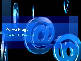 PowerPlugs: PowerPoint template with animated internet depiction with chrome email symbol rotating