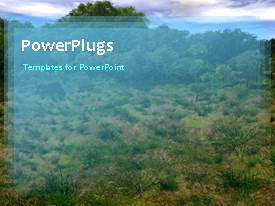 PowerPlugs: PowerPoint template with animated landscape view of nature with trees and grasses