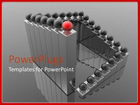 PowerPlugs: PowerPoint template with animated layers of metallic bars with red and black balls