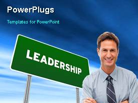 PowerPlugs: PowerPoint template with animated leadership depiction with green leadership signpost and young smiling professional