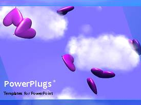 PowerPlugs: PowerPoint template with animated love depiction with colorful heart shapes on blue background
