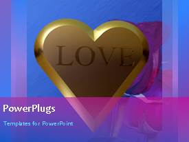 PowerPlugs: PowerPoint template with animated love depiction with large gold heart shape