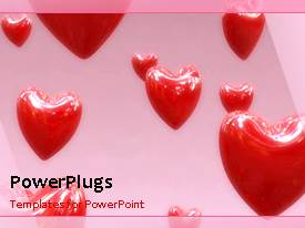 PowerPlugs: PowerPoint template with animated love depiction with rising heart shape in background