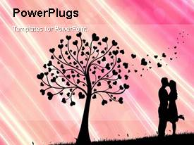 PowerPlugs: PowerPoint template with animated love depiction with silhouette of kissing couple  beside love tree