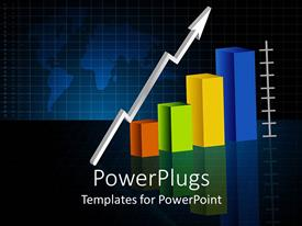 PowerPlugs: PowerPoint template with animated multi colored bar chart with a white arrow
