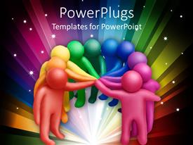 PowerPlugs: PowerPoint template with animated multi colored human figures joining their hands together