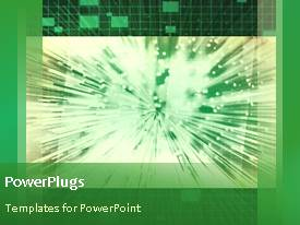 PowerPlugs: PowerPoint template with animated network depiction with sparkles on screen of oscilloscope