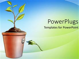 PowerPoint template displaying an animated plant provided with the socket for its growth