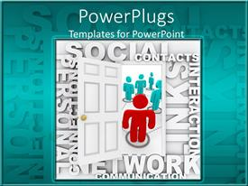 PowerPlugs: PowerPoint template with animated red and blue human figures with social network text