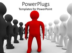PowerPoint template displaying animated red figures in the middle of a row of black and white figures