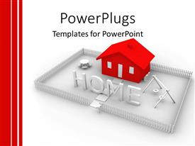 PowerPlugs: PowerPoint template with animated red house in  silver colored yard with the text HOME in front
