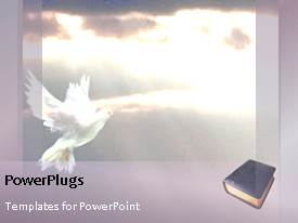 PowerPlugs: PowerPoint template with animated religious background with word Hope, Forgiveness and white dove in sky