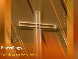 PowerPlugs: PowerPoint template with animated religious depiction with light glow on large cross