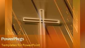 PowerPoint template displaying animated religious depiction with light glow on large cross - widescreen format
