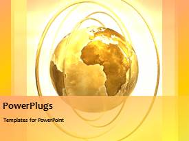 PowerPlugs: PowerPoint template with animated rotating gold globe with brightly light background