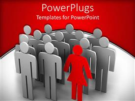 PowerPlugs: PowerPoint template with animated silver colored human depictions wit a red female one standing out