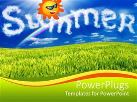 PowerPlugs: PowerPoint template with animated smiling sun in a blue sky over green grass