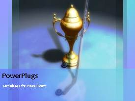 PowerPoint template displaying animated sport depiction with gold trophy and a golf stick