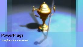 PowerPoint template displaying animated sport depiction with gold trophy and a golf stick - widescreen format