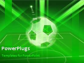 PowerPlugs: PowerPoint template with animated sport depiction with soccer ball and soccer pitch