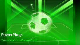 PowerPoint template displaying animated sport depiction with soccer ball and soccer pitch - widescreen format