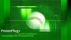 PowerPoint template displaying animated sport depiction with white tennis ball rotating in green background - widescreen format