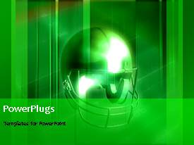 PowerPlugs: PowerPoint template with animated sports depiction with American football protective helmet