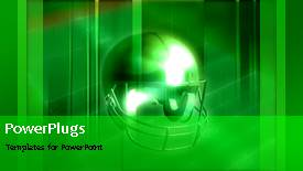 PowerPoint template displaying animated sports depiction with American football protective helmet - widescreen format