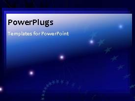 PowerPlugs: PowerPoint template with animated stars and lights on blue background