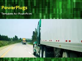 PowerPoint template displaying animated transport depiction with truck on highway and green background