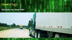 PowerPoint template displaying animated transport depiction with truck on highway and green background - widescreen format