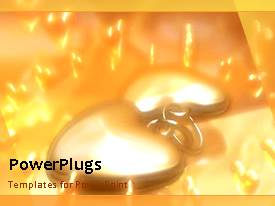 PowerPlugs: PowerPoint template with animated Valentine depiction with heart shapes and burning candles