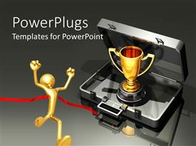 PowerPoint template displaying animated view of a metallic box with a trophy and a human figure winning a race