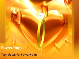 PowerPoint template displaying animated wedding depiction with gold ring and large heart shape