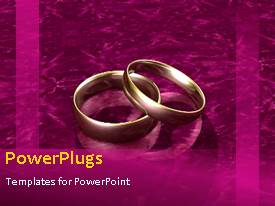 PowerPoint template displaying animated wedding depiction with gold wedding ring on purple bacground