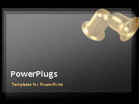 PowerPlugs: PowerPoint template with animated wedding depiction with two ringing wedding bells on grey background