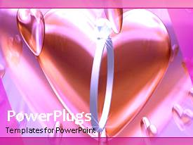 PowerPoint template displaying animated wedding depiction with wedding ring and heart shape
