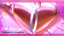 PowerPoint template displaying animated wedding depiction with wedding ring and heart shape - widescreen format